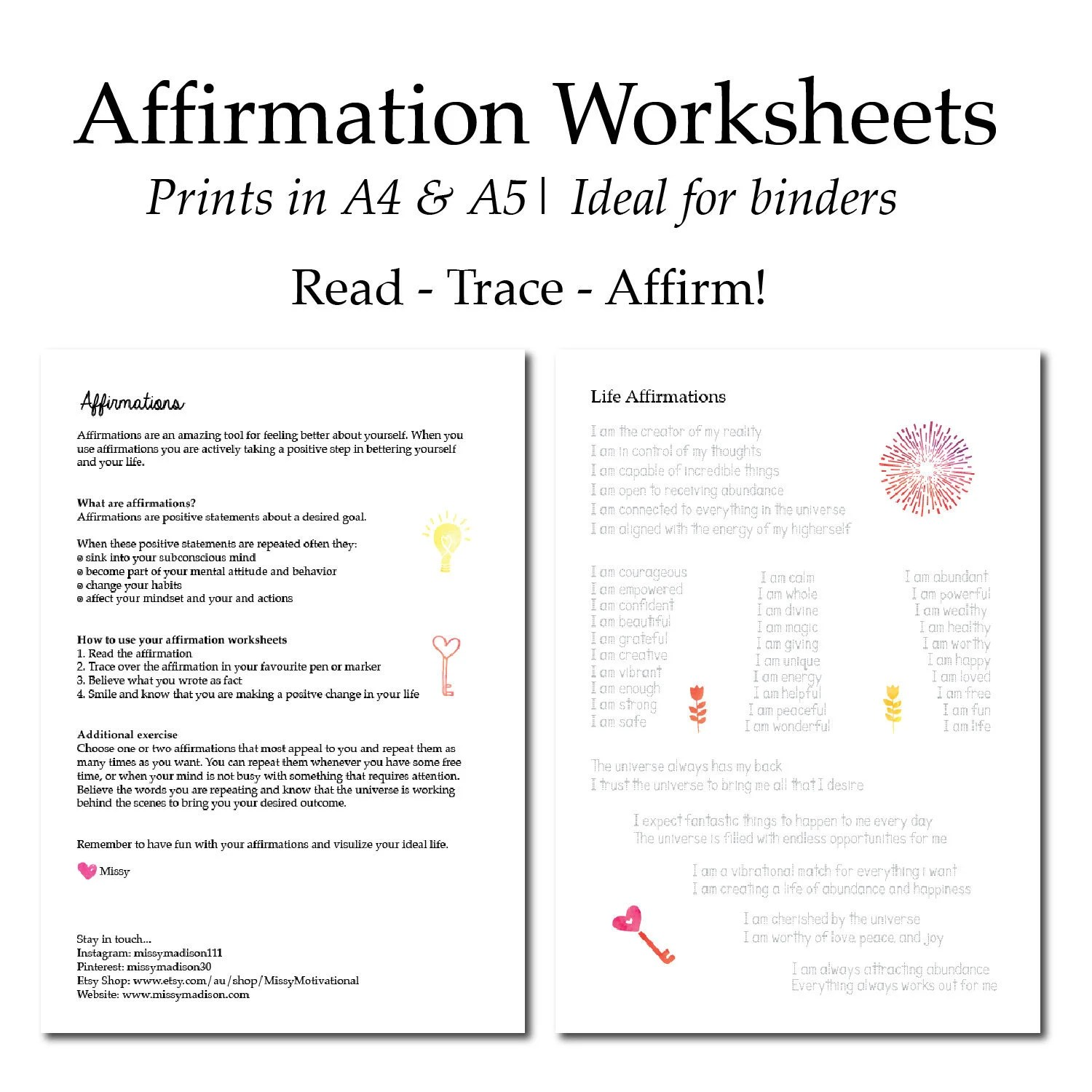 Affirmation Worksheets Manifestation Law Of Attraction