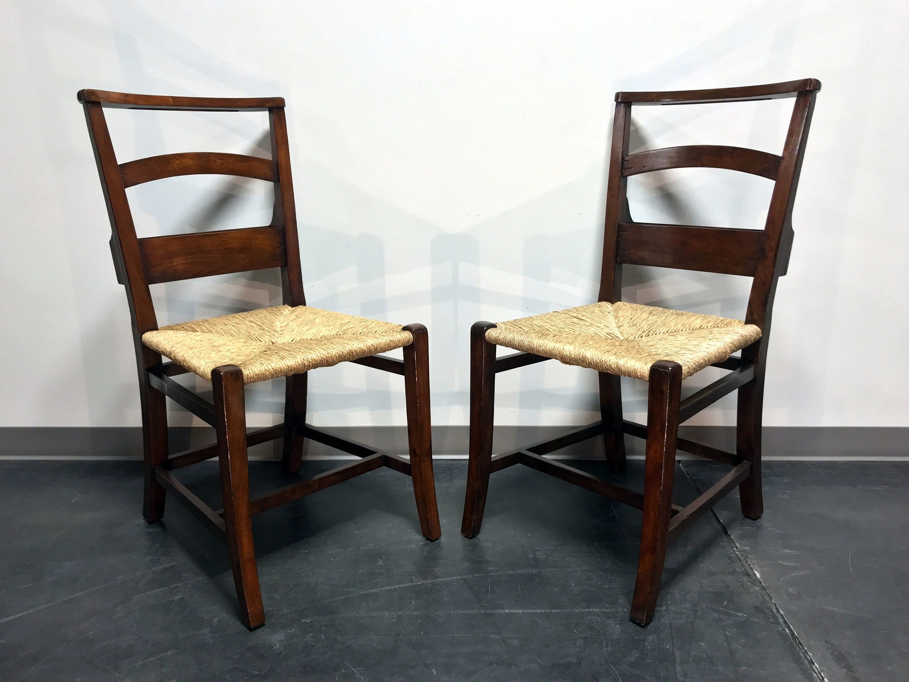 Pew Chairs Jonathan Charles Rustic Walnut Church Side Chairs W Rush Seats Pair 2