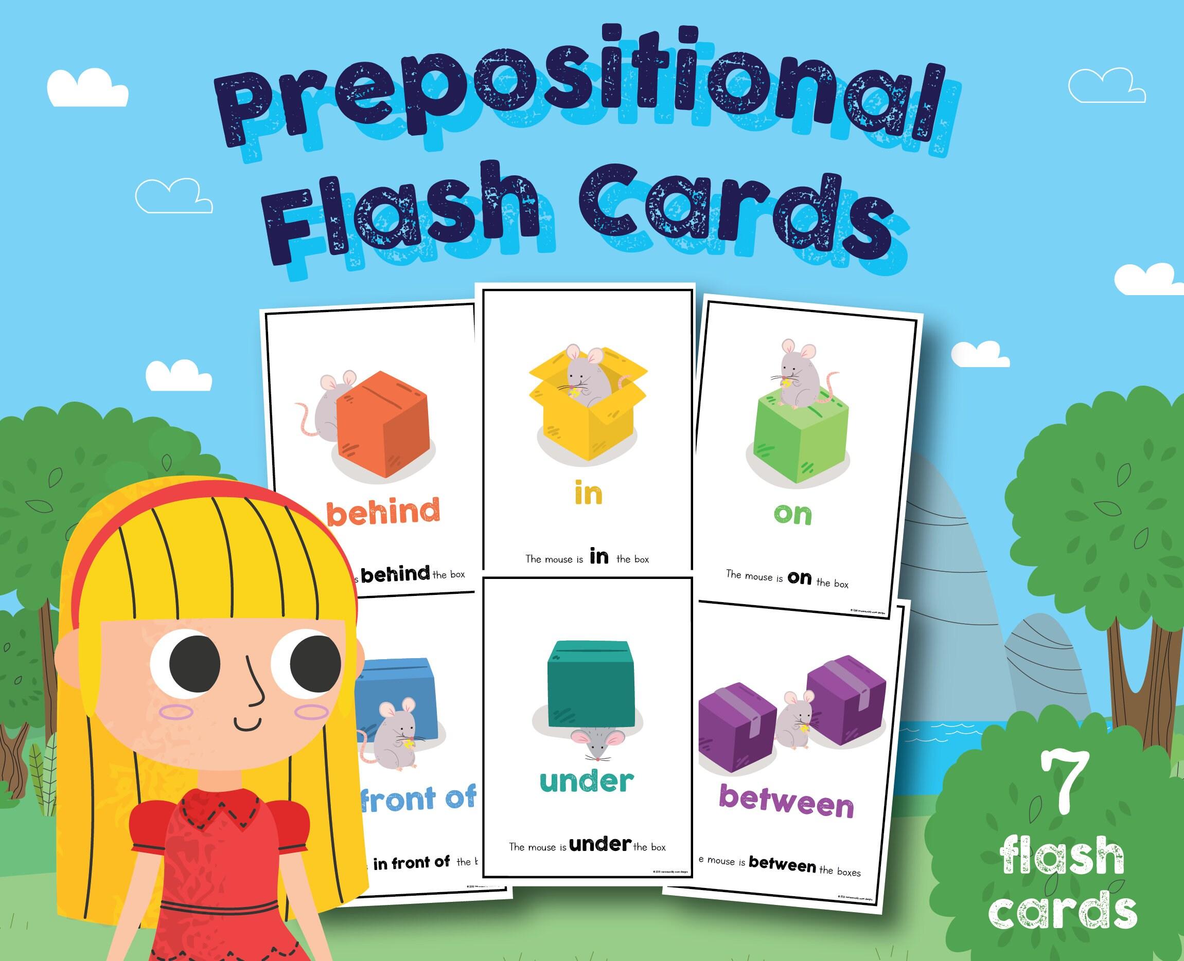 Prepositional Flash Cards Preschool Kindergarten Classroom