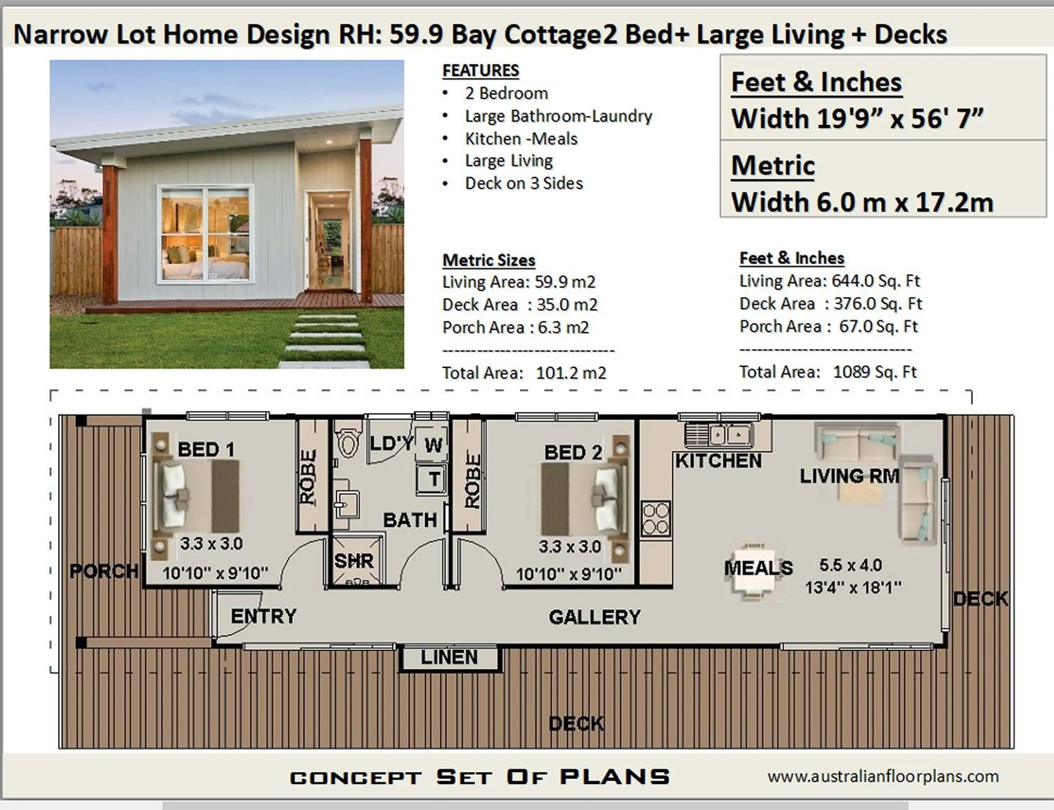 120 M2 1291 Sq Foot 2 Bedroom House Plan 2 Bed Granny Etsy