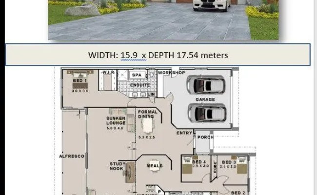 272 M2 4 Bedroom House Plans Double Garage Home Plans Etsy