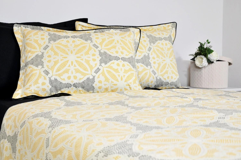 moroccan tile bedding set in full queen king cal king black yellow silver geometric bedding 6 pcs duvet cover pillowcase sham sheet