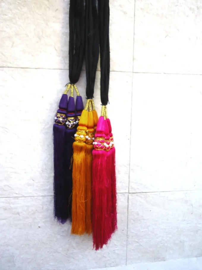 purple yellow pink paranda, indian paranda, braid hairstyle, belly dance head dress, hair jewelry, ponytail hair tassel, artificial hair