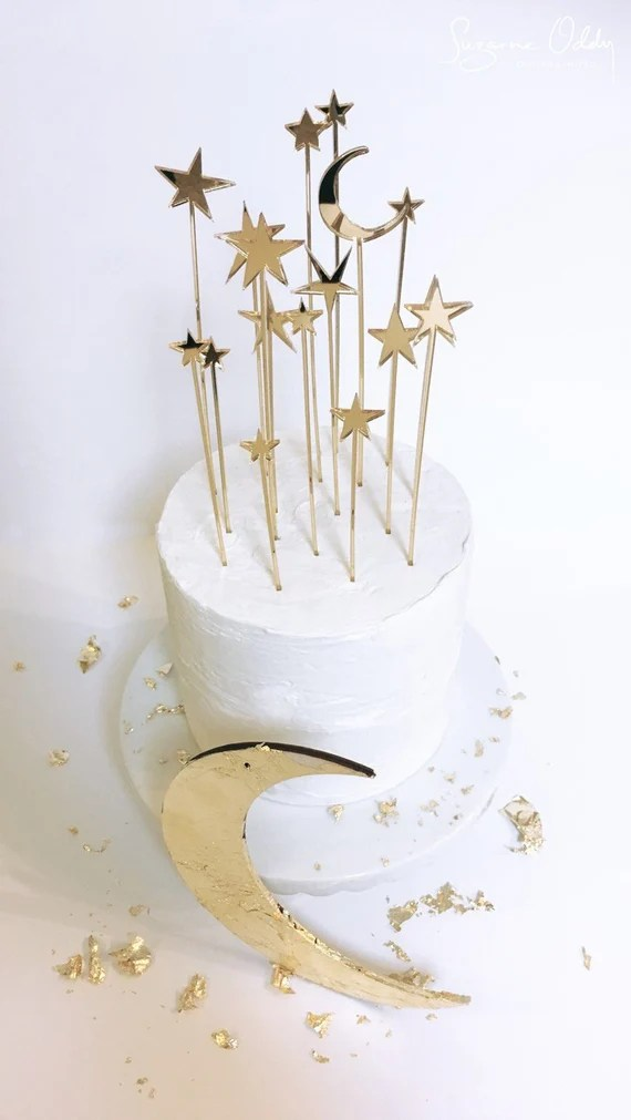 Star Wedding Cake Topper Celestial Wedding Gold Wedding Cake Etsy