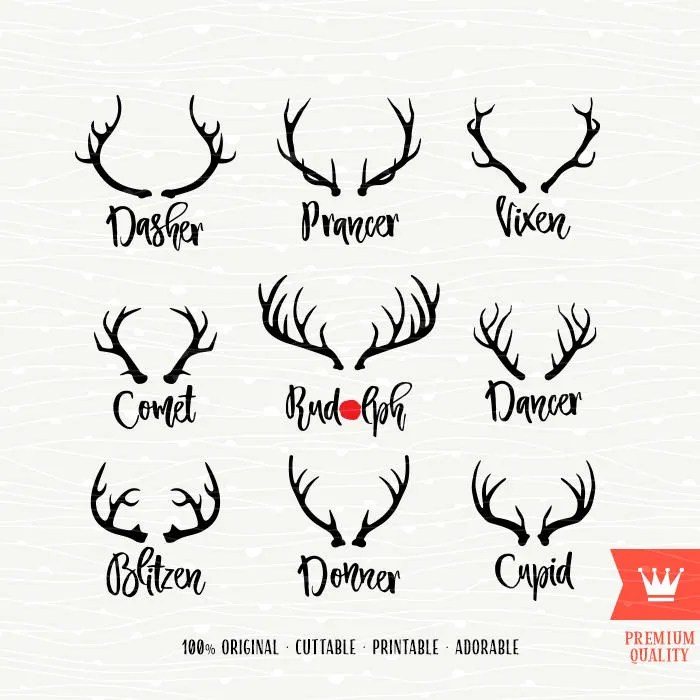 Santas Reindeer Names SVG Christmas Decal Cutting File Etsy