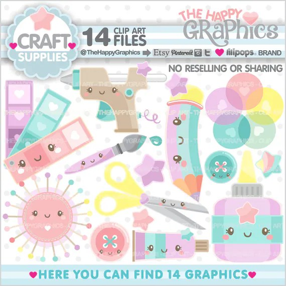 Craft Supplies Clipart Craft Clipart Craft Element Clipart Etsy