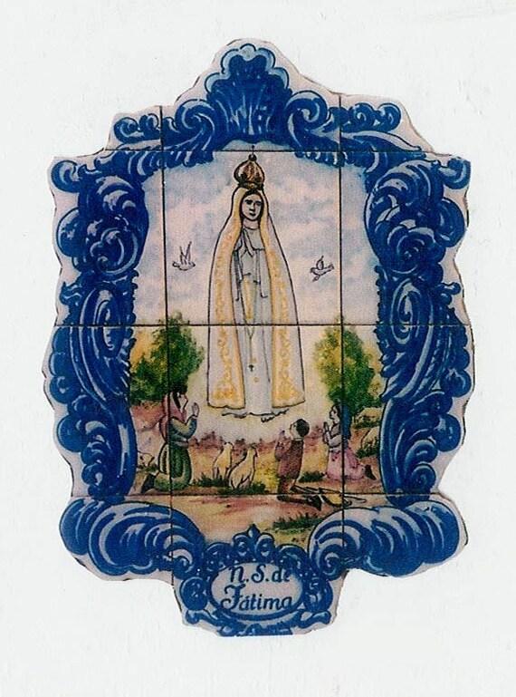 notre dame de fatima fresque de carreaux de ceramique peints a la main art sacre peint au portugal a la main