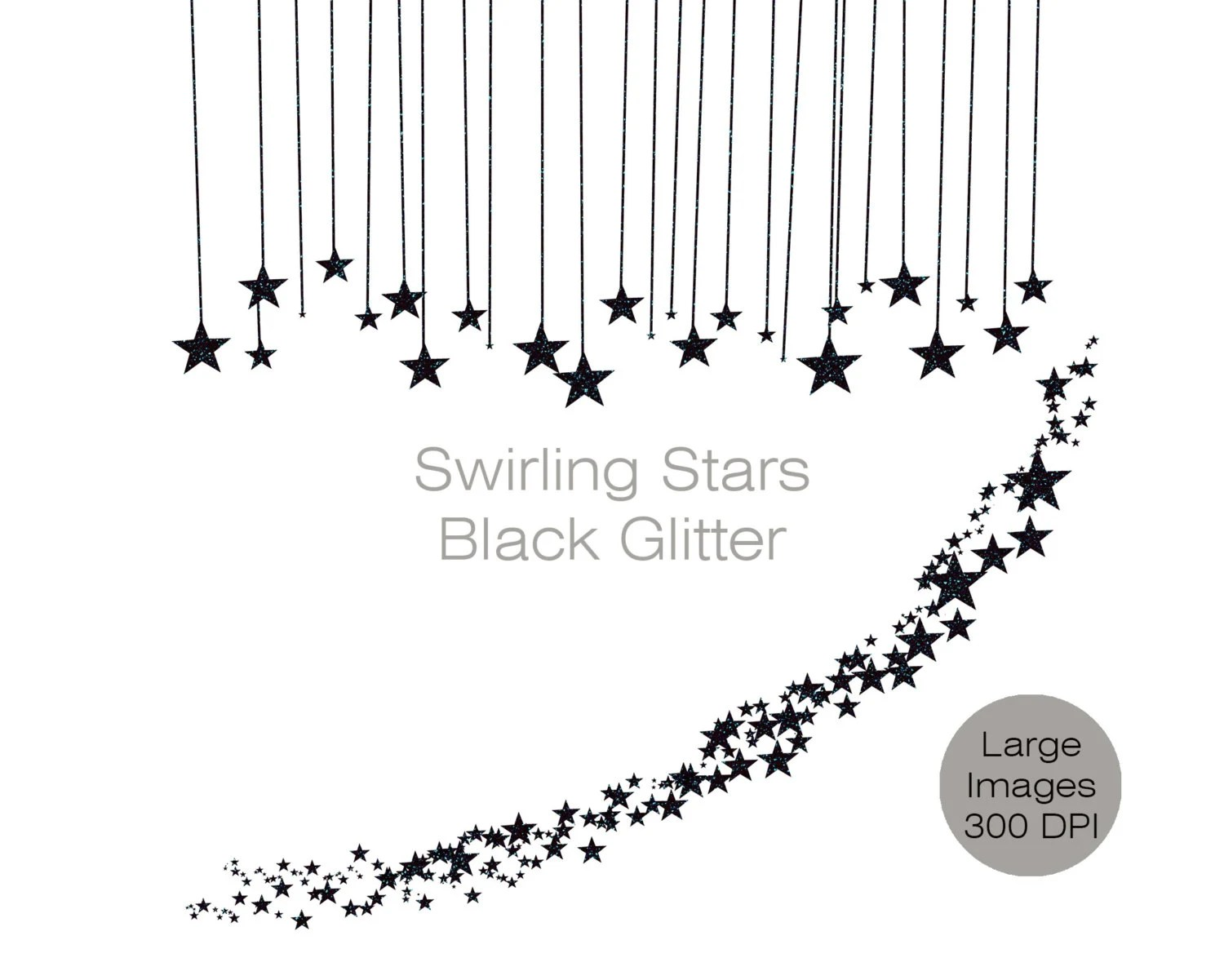 Black Glitter Stars Clipart Commercial Use Clip Art