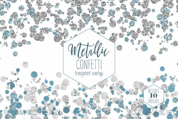 silver confetti borders clipart