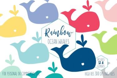 clip whale cute clipart graphics beach svg watercolor clipartbrat animal nautical ocean rainbow unique colors digital commercial