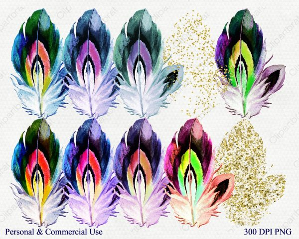 watercolor feather clipart commercial