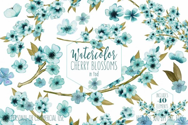 teal watercolor floral clipart