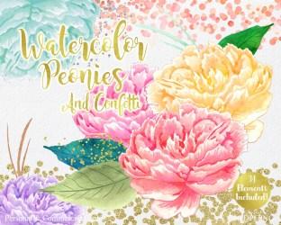 watercolor peony clipart pink clip flower floral confetti gold rose wedding graphics commercial peonies peach invite clipartbrat chic unique