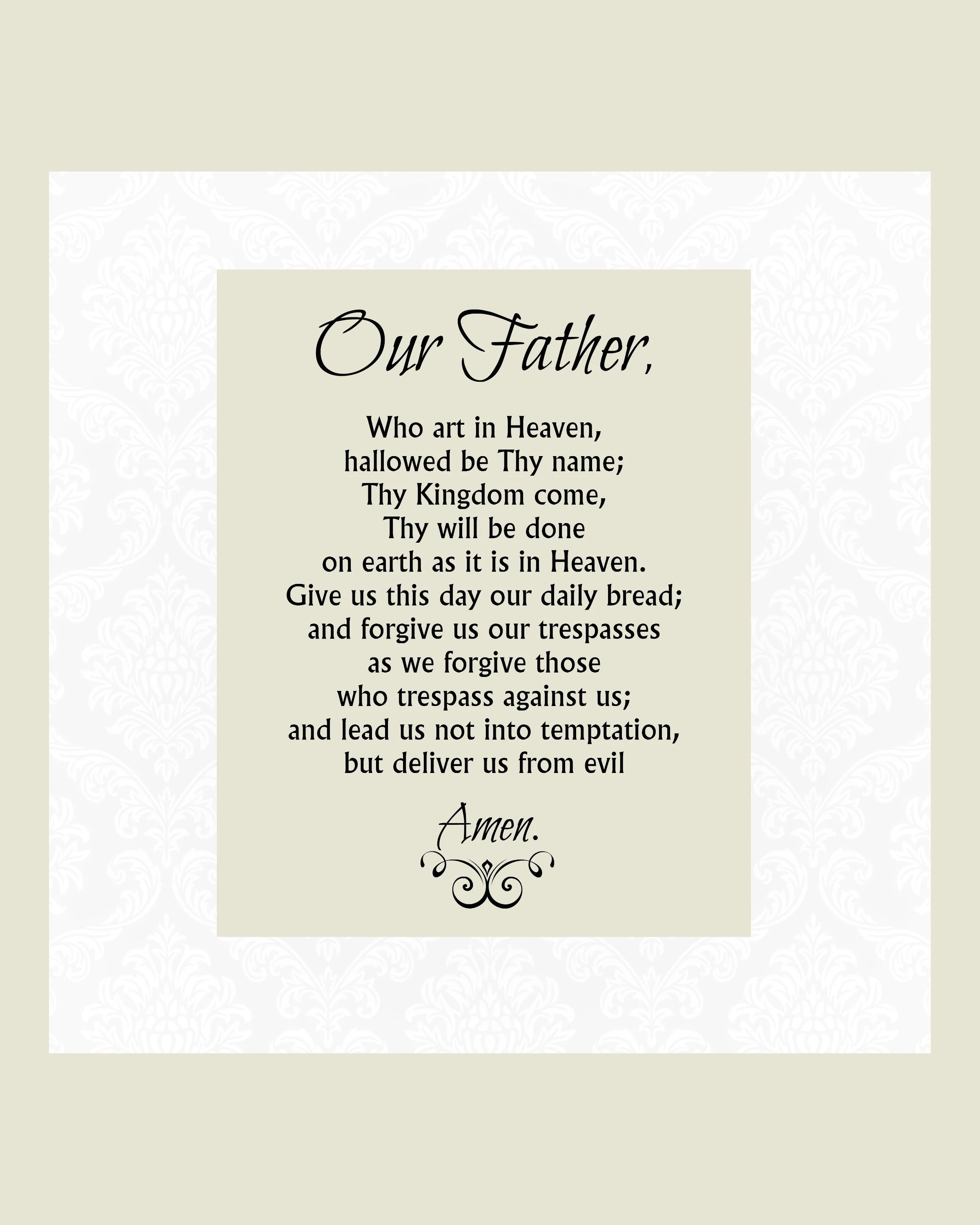 Our Father Prayer Printable The Lord S Prayer 5x7 8x10