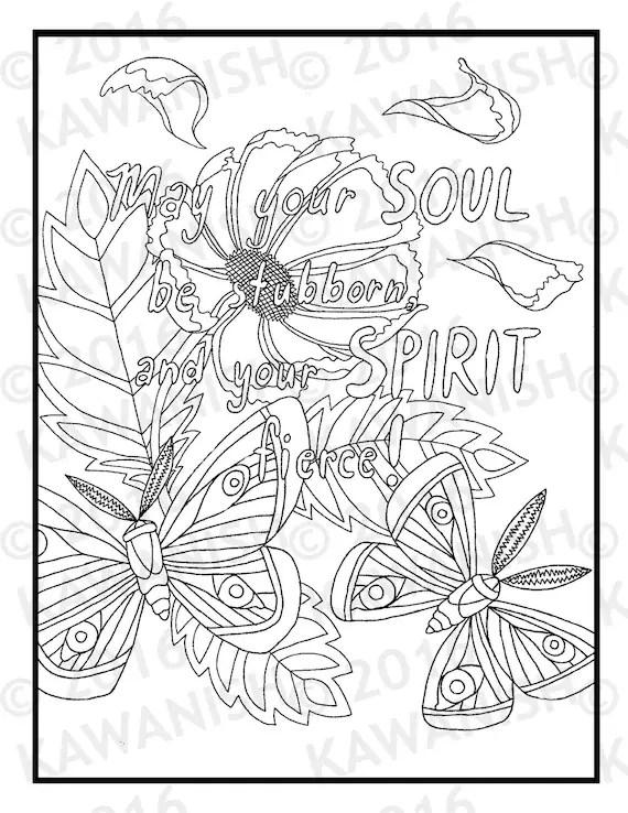 stubborn & fierce butterfly flower inspirational adult