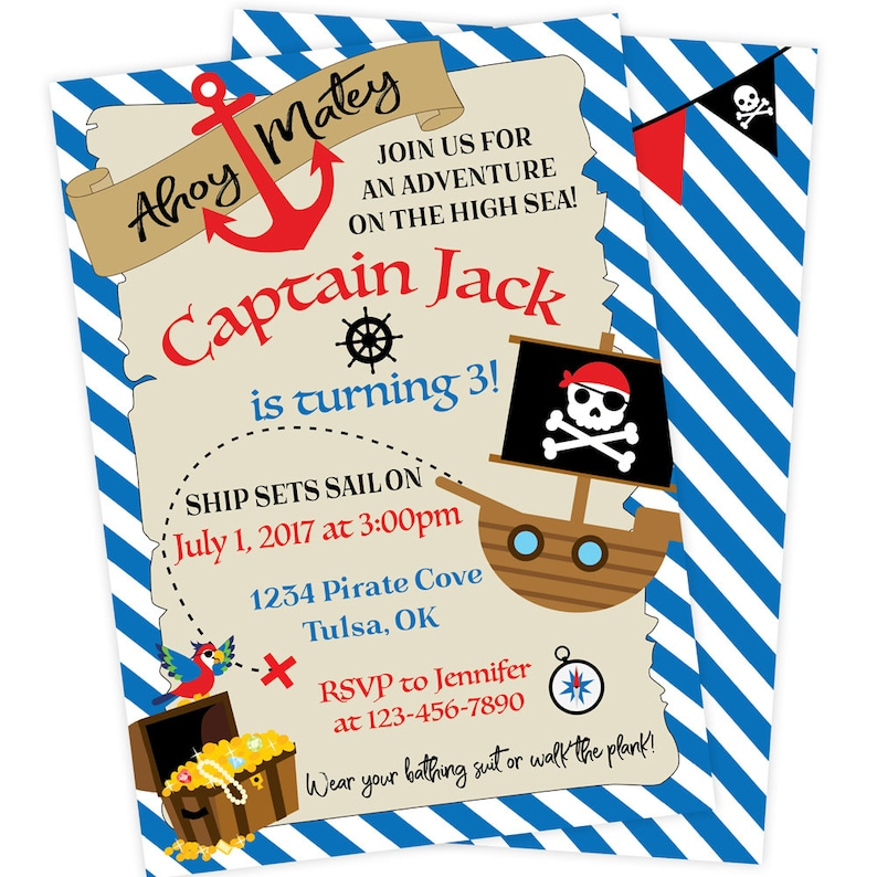 pirate birthday parties are a favorite of hearty sea dogs and landlubbers alike whether they be girls or boys, young or old. Pirate Birthday Party Invitation Pirate Party Printable Etsy