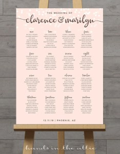 Pink wedding seating chart poster pastel light table assignment guest list plan board digital pdf also rh catchmyparty