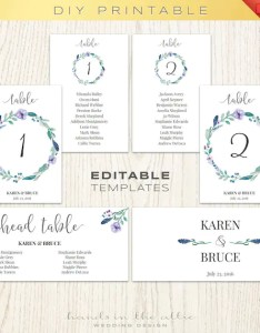 Floral wedding table numbers printable template seating chart printables head diy digital download also rh catchmyparty