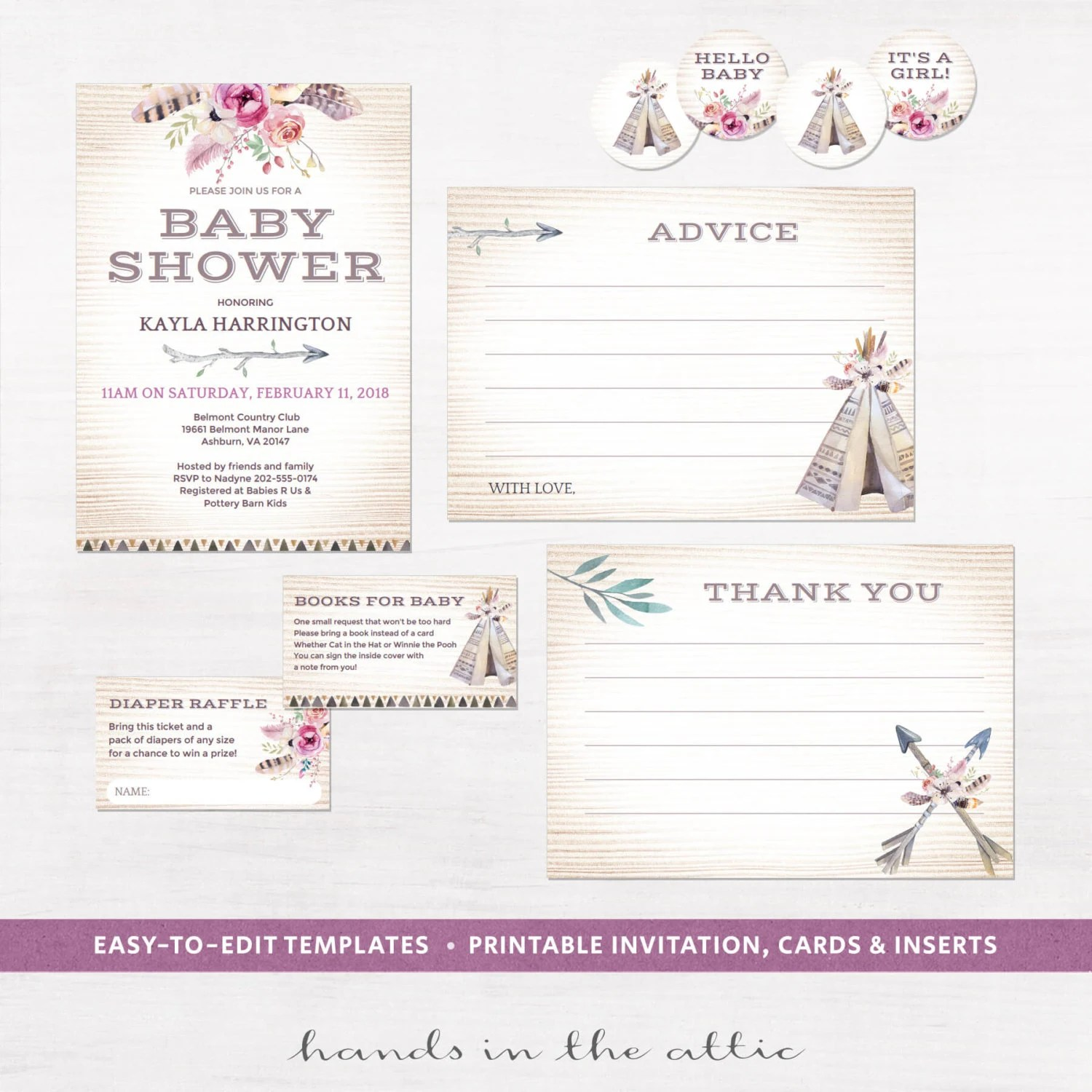 Bohemian Baby Shower Stationery Printables Boho Tribal Style
