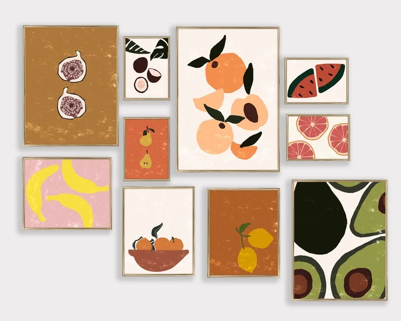 boho kitchen wall decor kitchen gallery wall art set of 10 image 0