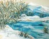 Decorative Painting, 4 seasons, Winter, February, Watercolor on Canvas, Color in Music, framed