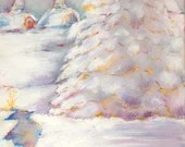 Decorative Painting, 4 seasons, Winter Day, January, Watercolor on Canvas, Color in Music, framed
