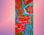 Floral Painting, Mural Painting, Wall Decoration, Art Deco, Poppy-Dream, Acrylic on canvas