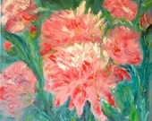 Flowers Painting, Decorative Painting, Abstract Painting, Peonies, knife, oil on canvas