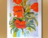 Poppies, Art Print, contemporary limited edition print, original watercolor, large size