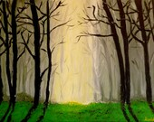 Decorative Painting, Mural Painting, Mystical Forest, Acrylic on Canvas