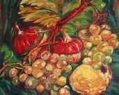 Decorative Painting, Mural Painting, Still life with pumpkins, Oil on Canvas, Knife