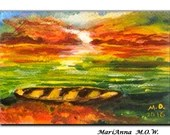 ACEO Card, Original Watercolor and Hand Painted Artwork, Postcard, Greeting Card, Sundown