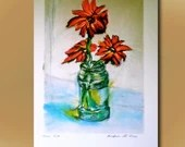 Daisies in water, Art Print, contemporary limited edition print, original pastel,l arge size