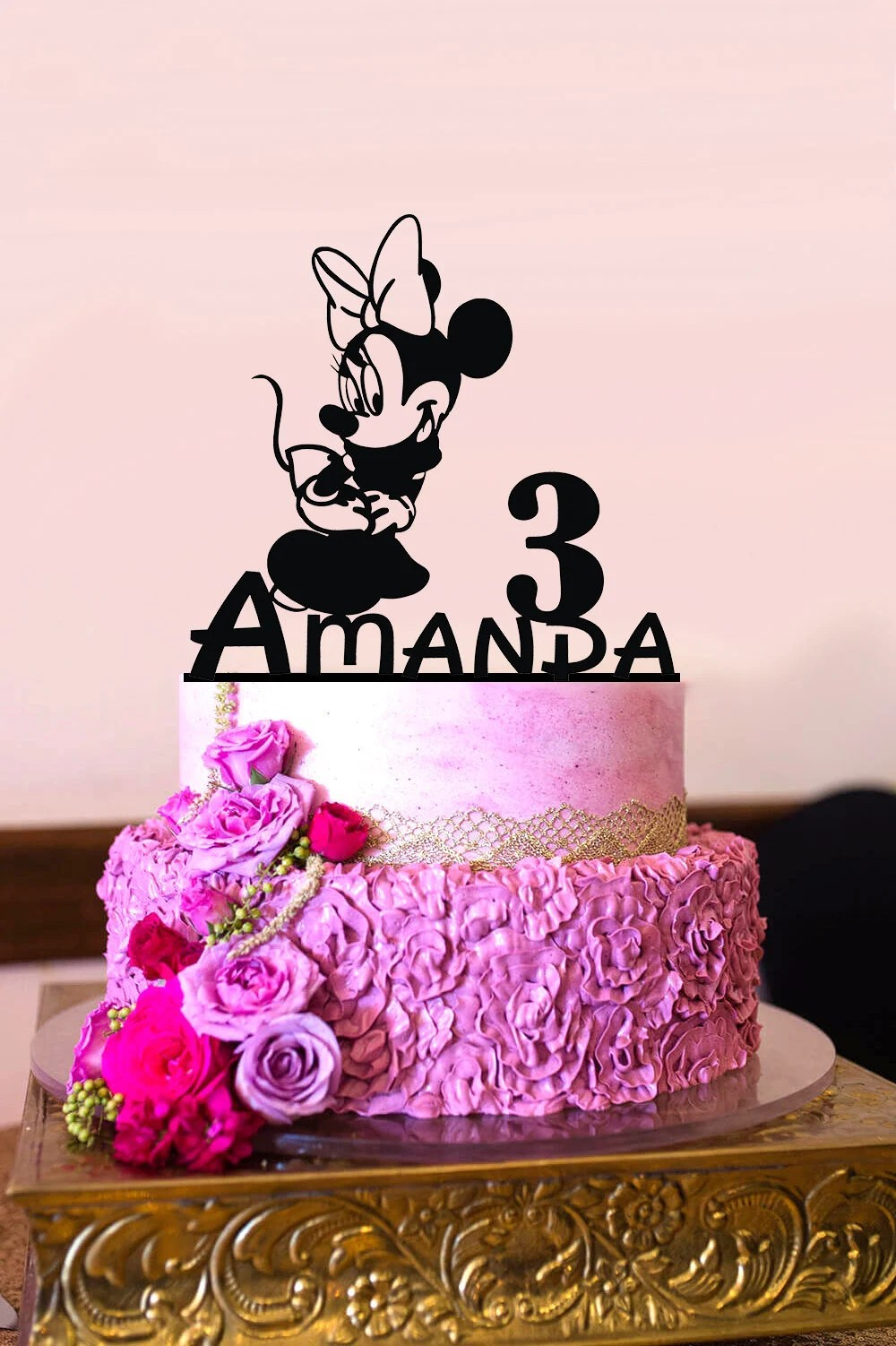Minnie Mouse Birthday Cake Topper Personalized Birthday Cake Etsy