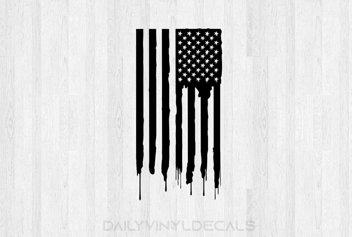 American Flag Vinyl Decal Vertical Distressed Choose Size