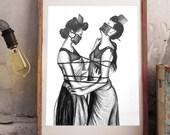 Directions - Irreverent erotic art bdsm - Lesbian love kinky- Hand-plate pandemic - Bondage