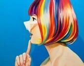 The Wildcard Confidente - Art lgtb pop art hair rainbows - original painting on Freedom