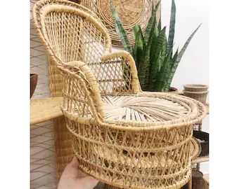 vintage peacock chair double rocking adirondack plans etsy wicker lounge unique plant holder woven stand