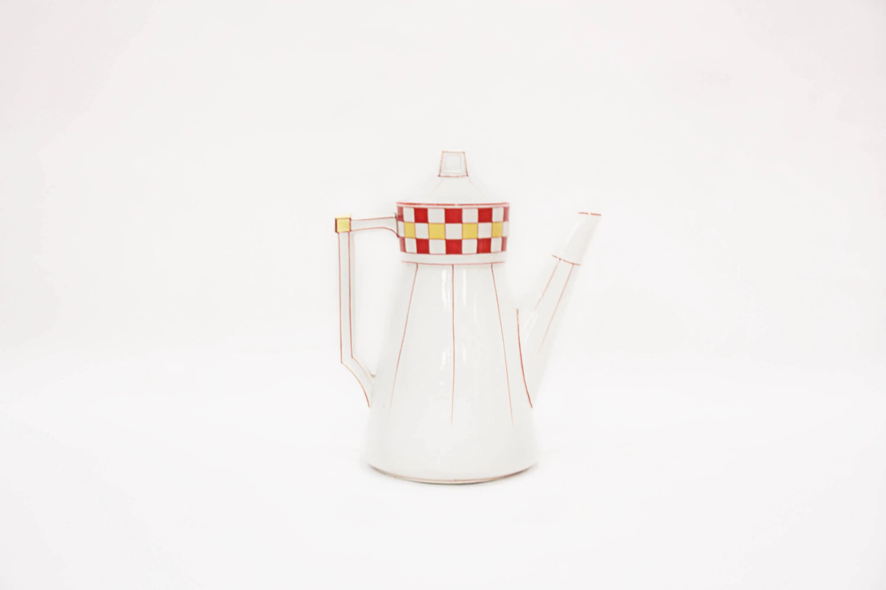 Vintage White Ceramic Teapot With Red And Yellow Checked