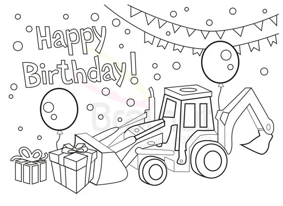 Birthday Coloring Pages Love Happy Birthday Color Pages Etsy
