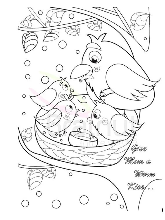 Mothers Day Coloring Pages Mothers Day Gift Mother S Etsy