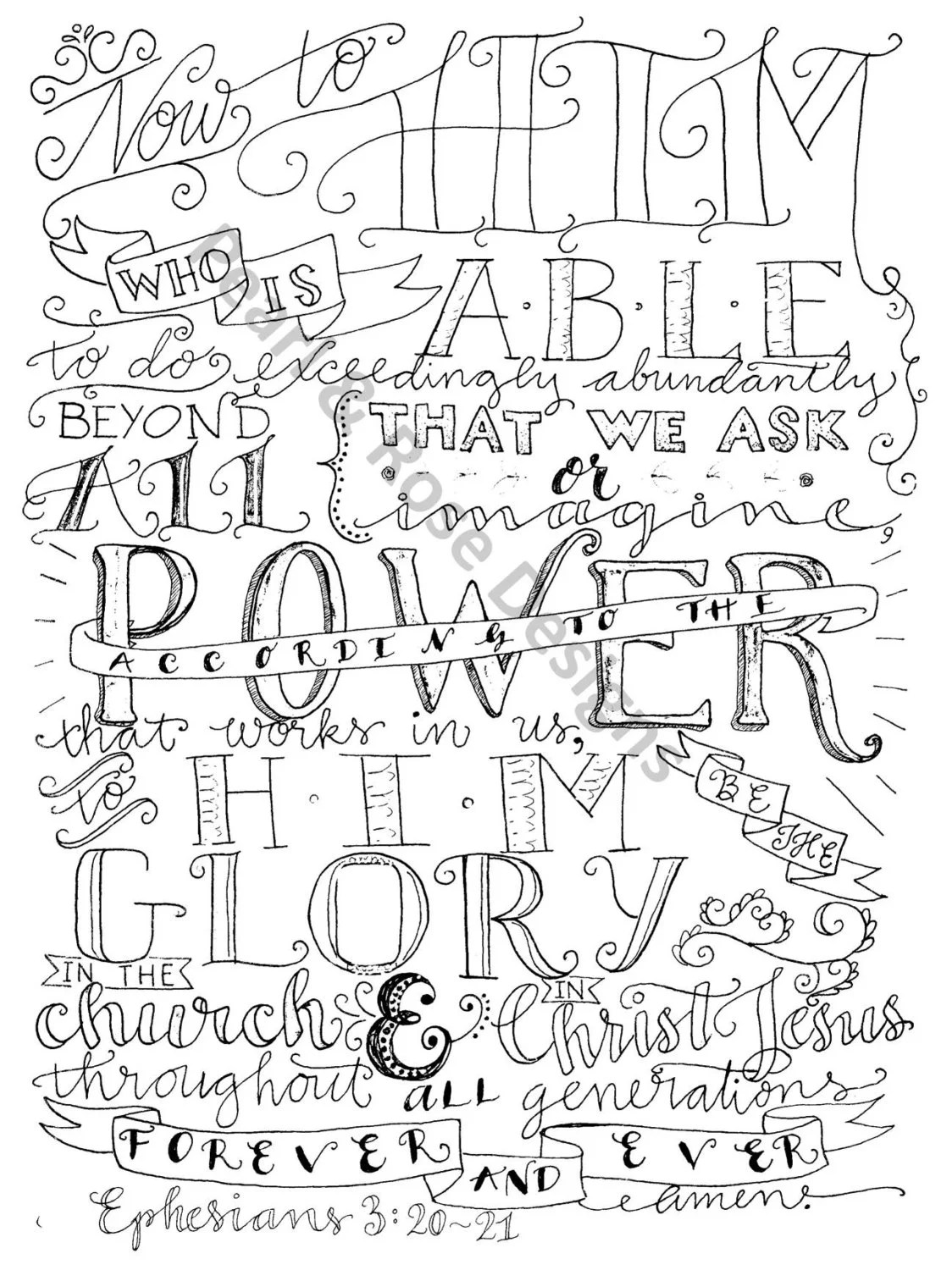 Adult Coloring Page Ephesians 3 20 21 Now Unto Him Instant