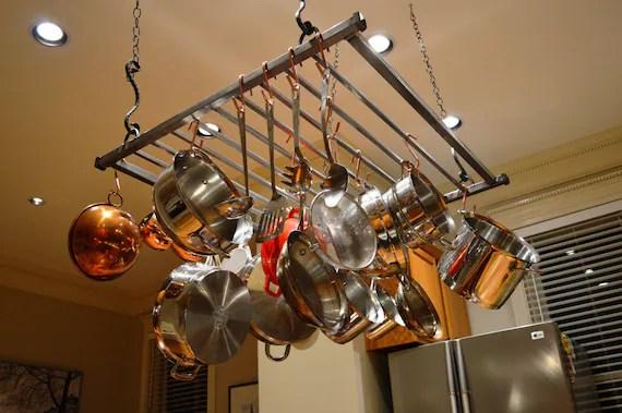 modern hanging pot rack large etsy
