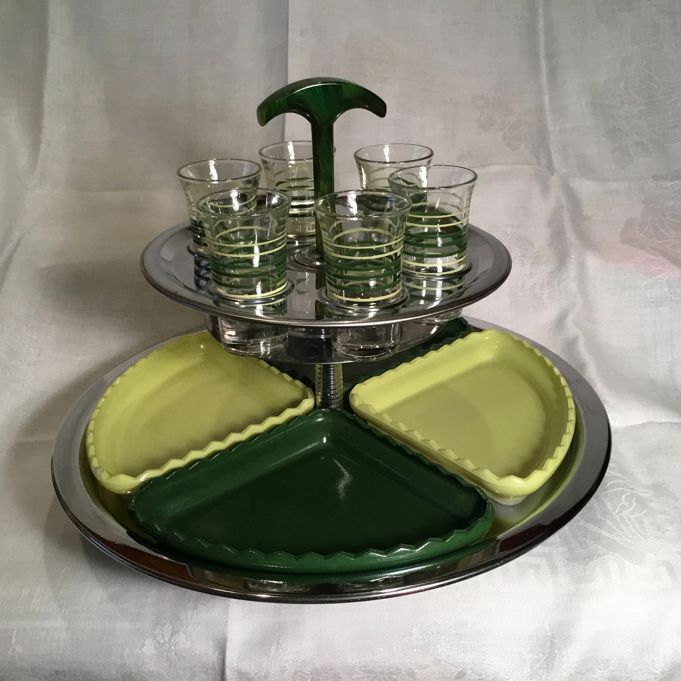 Deco Snack Art Deco 2 Tiered Chrome Appetizer And Cordial Server