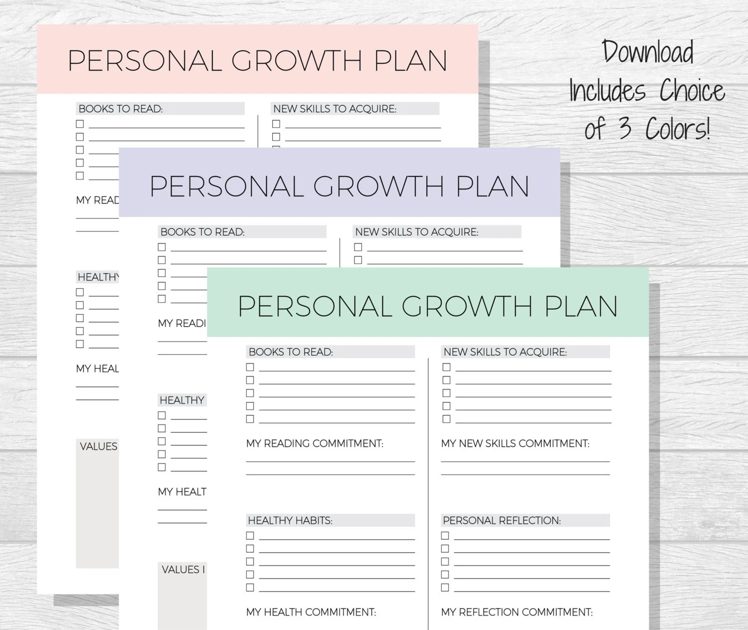 Personal Growth Plan Printable Personal Development Goal