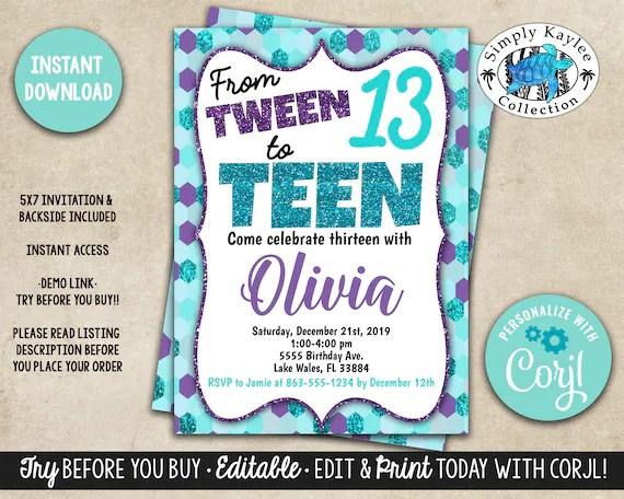 tween to teen birthday party invitation 13th birthday party invitation teen birthday party invitation