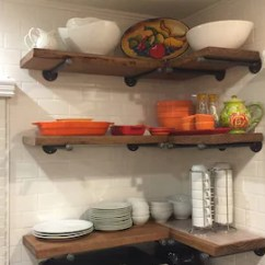 Kitchen Corner Shelf Decorating Etsy Set Of 3 10 Deep Industrial Floating Shelves With Pipe Brackets 24 36 Long Farmhouse Rustic Wood Wall