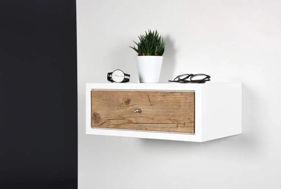 table de chevet blanche suspendue avec 1 tiroir en bois massif antique dans le style scandinave moderne console d entree