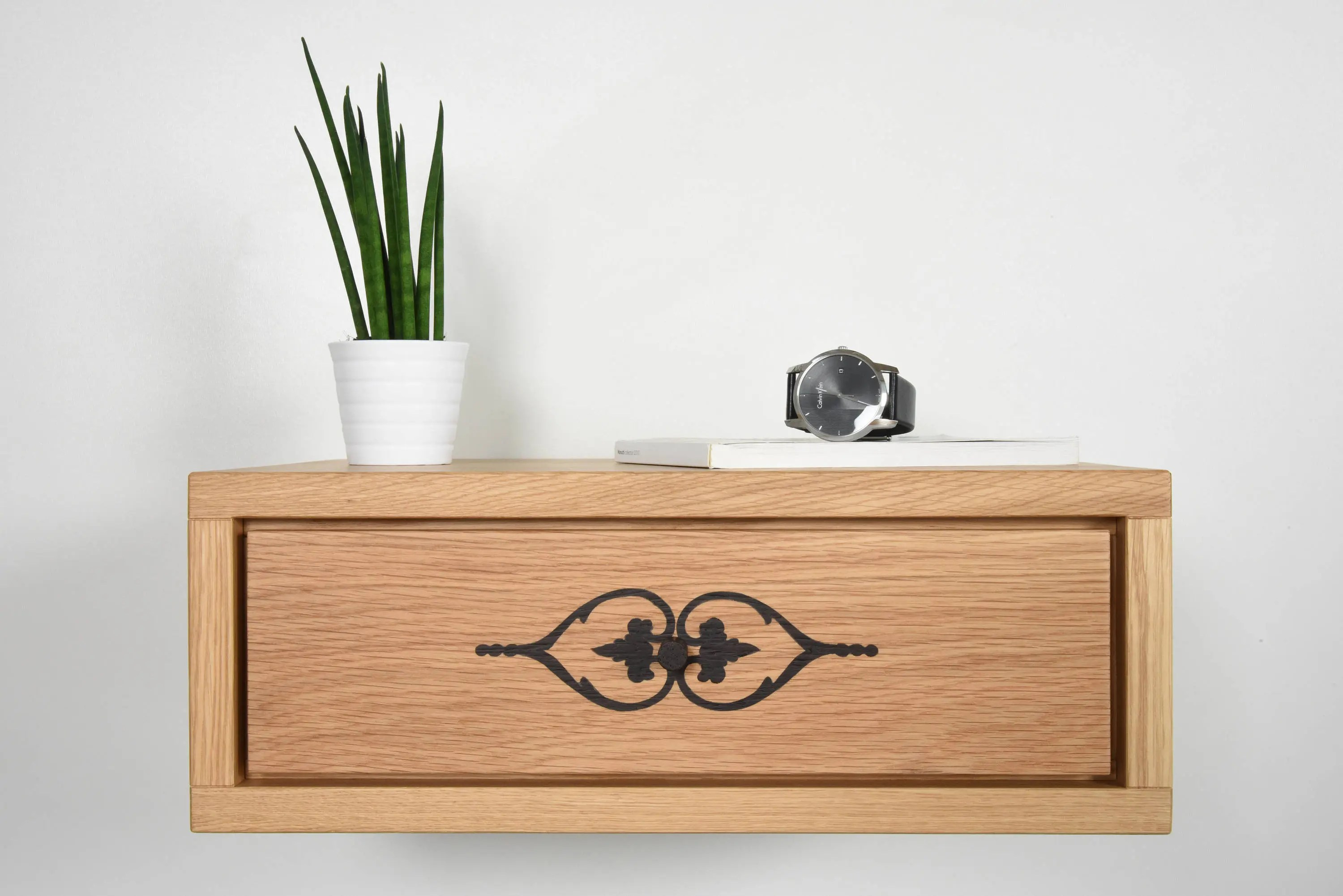 Floating Nightstand Bedside With Drawer Inlaid In Solid