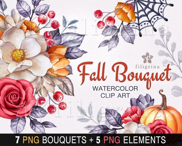fall bouquet watercolor clip art